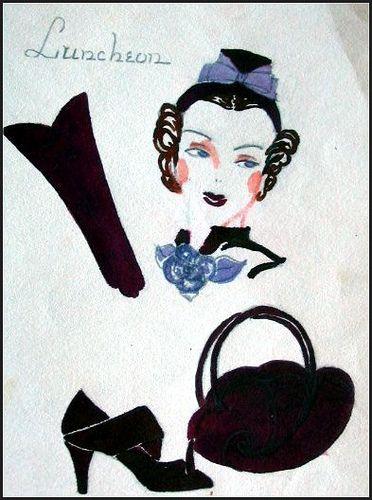 Vintage 1930's Fashion Illustration - Hats, Shoes, Purses, gloves