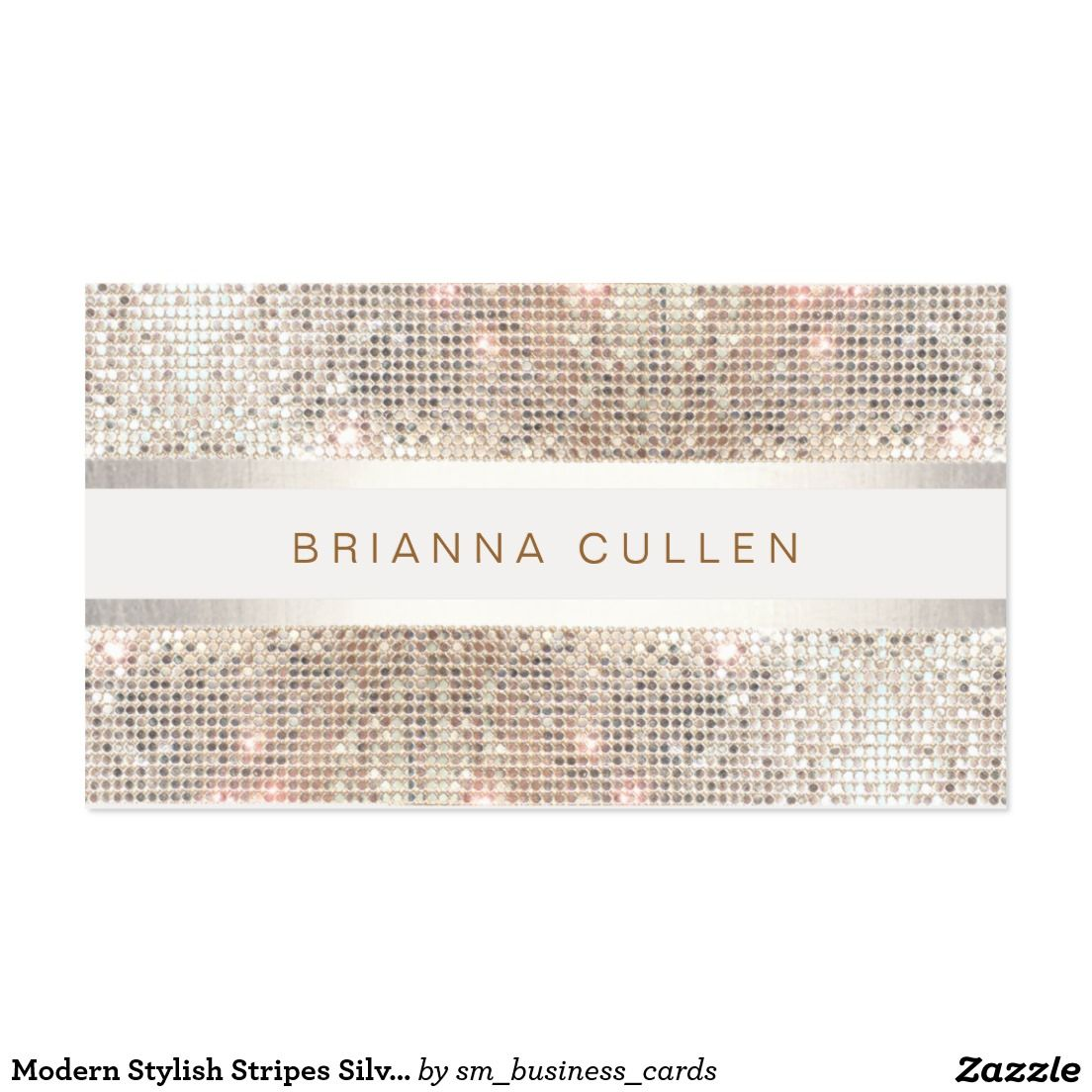 Modern stylish stripes silver sequin business card business cards modern stylish stripes silver sequin business card colourmoves