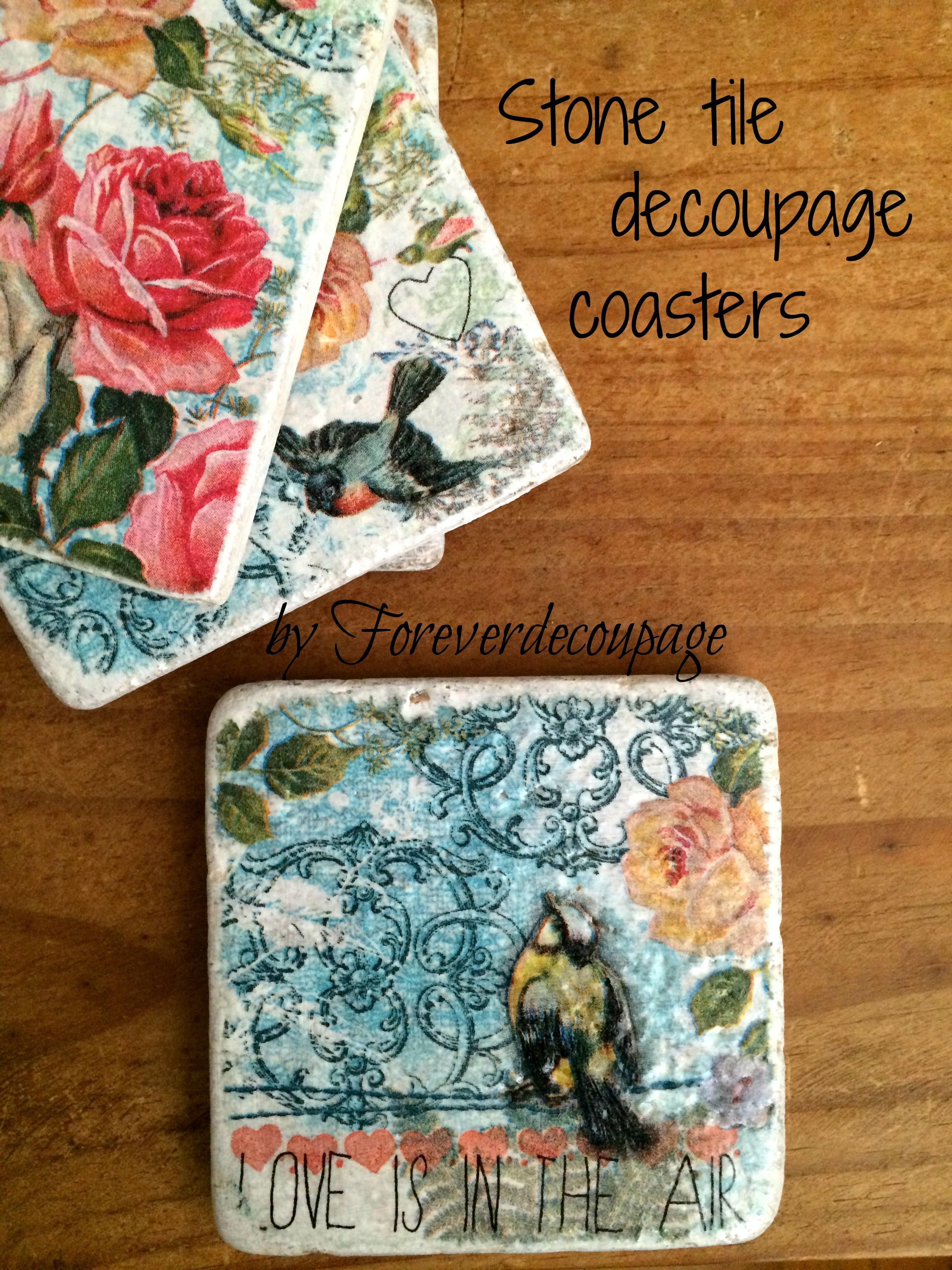 Decoupaged stone tile coasters, vintage roses and birds