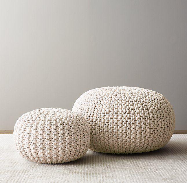 Metallic Knit Cotton Round Pouf Natural Pouf Ottoman