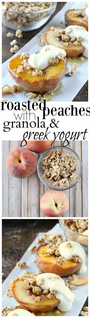 Roasted peaches, topped with Quaker®️ Real Medleys SuperGrains Granola Cinnamon Apple Walnut, Greek yogurt, and a drizzle of honey; make for a simply delightful breakfast or snack. #GranolaMyWay #ad