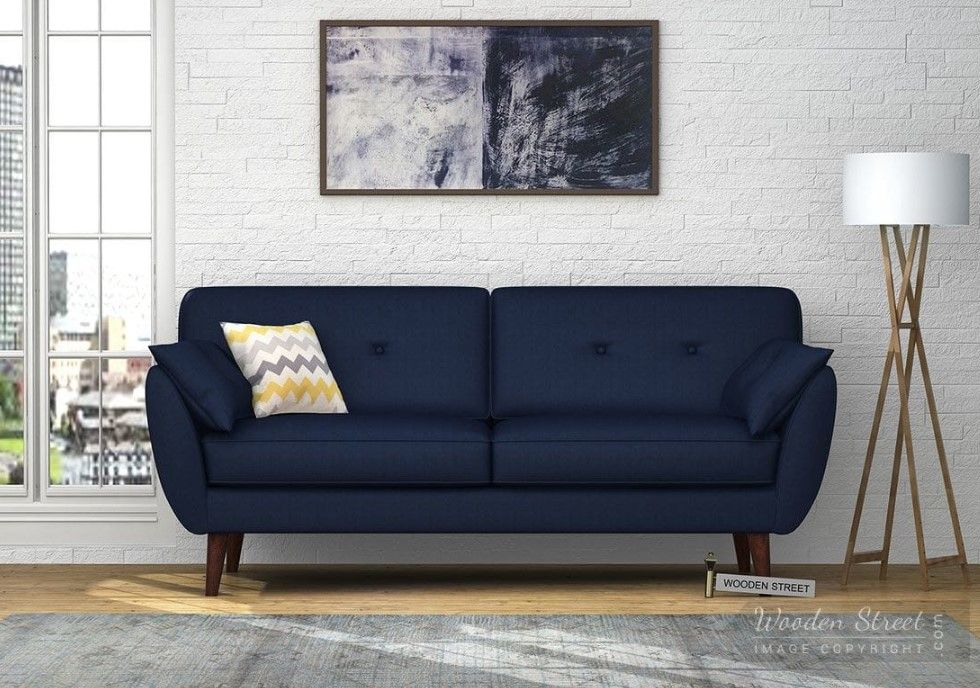 Buy Angela 3 Seater Sofa Cotton Indigo Ink Online In India Wooden Street Seater Sofa Sofa Cotton 3 Seater Sofa