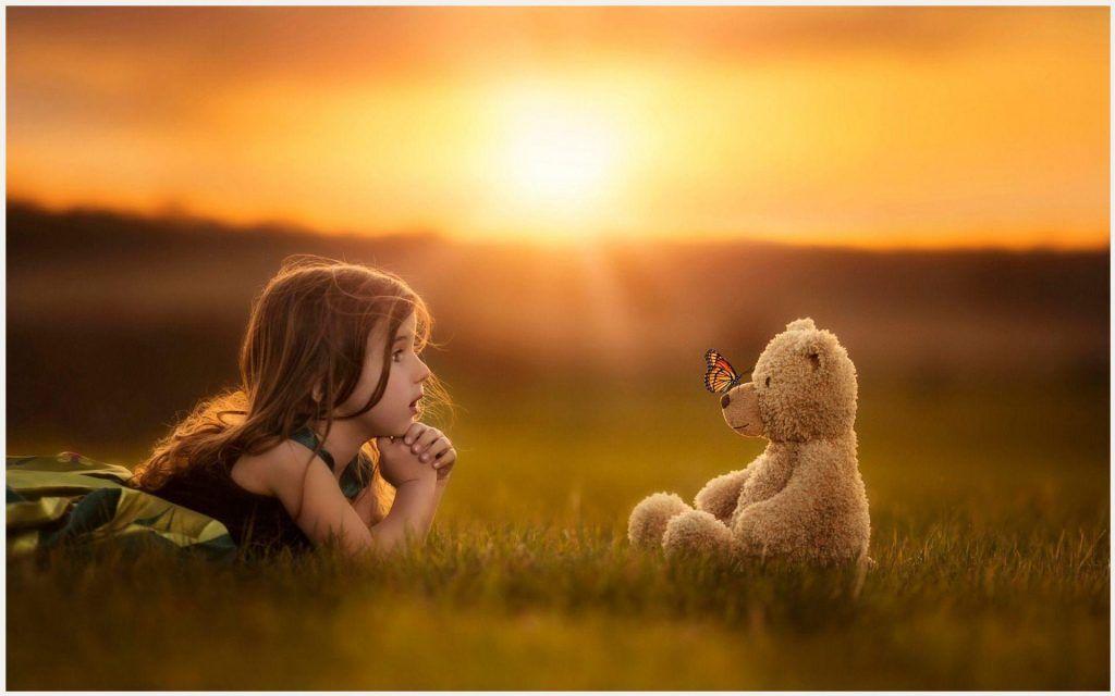 Cute Girl With Teddy Bear Cute Wallpaper Cute Baby Girl With