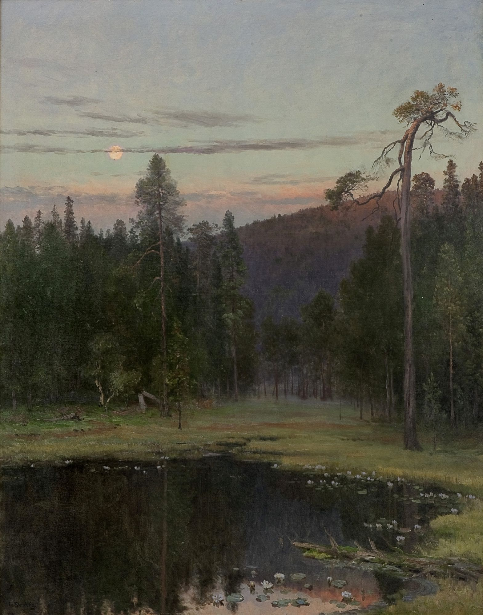 Skredsvig, Christian (1854-1924) ''Evening by a pond''