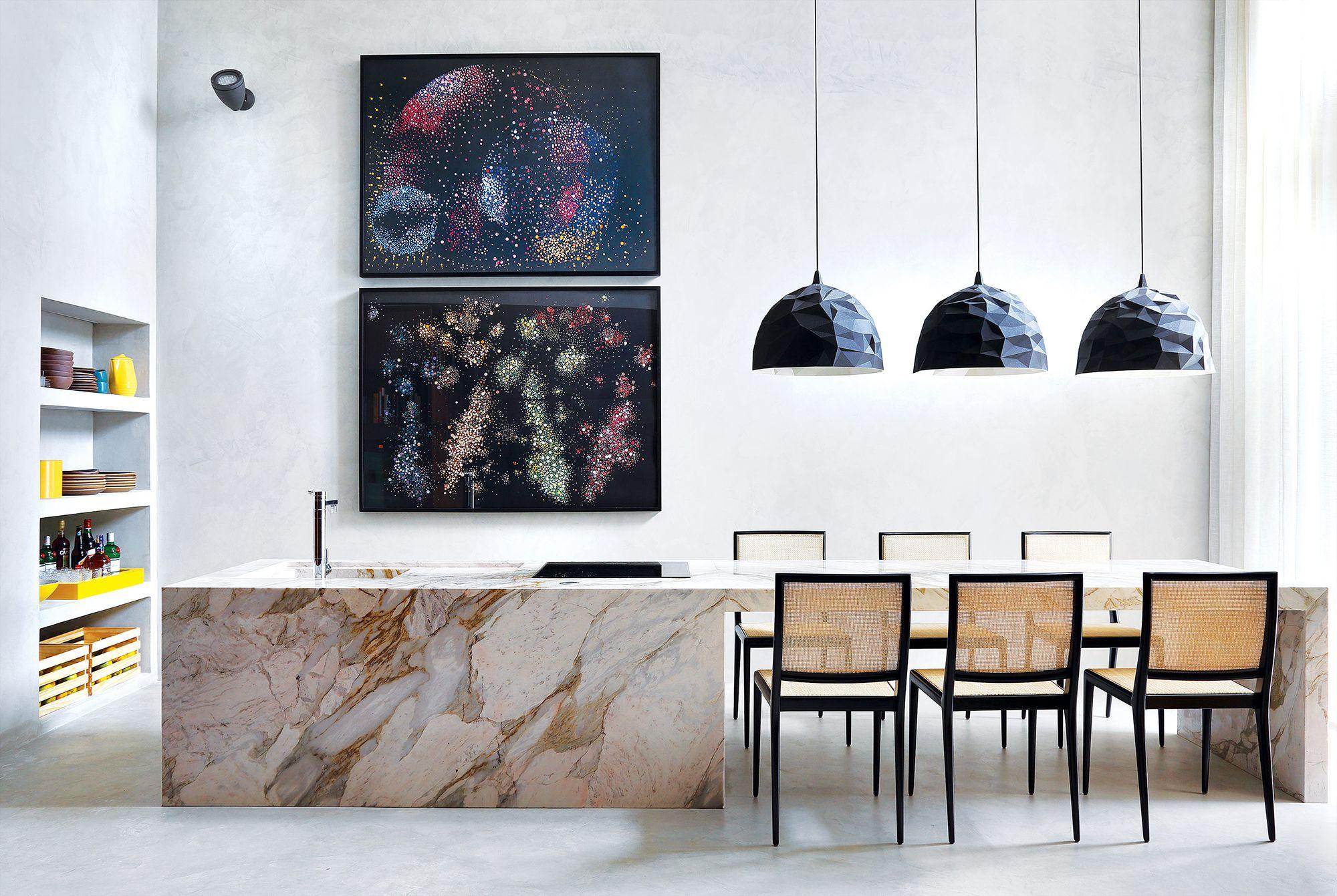Pensada Como Continua O Da Ilha Da Cozinha A Mesa De M Rmore  -> Sala De Jantar Pequena Com Mesa De Marmore