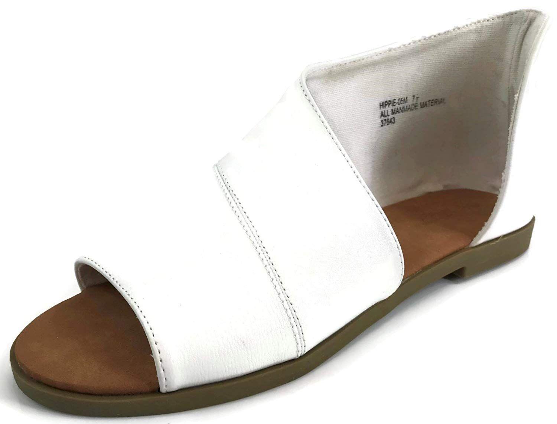 Bamboo Fashion Women's Faux Leather Asymmetrical Sandal Open