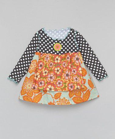 39cb88bff46c Loving this Orange   Aqua Polka Dot Flower Apron Swing Top - Toddler ...