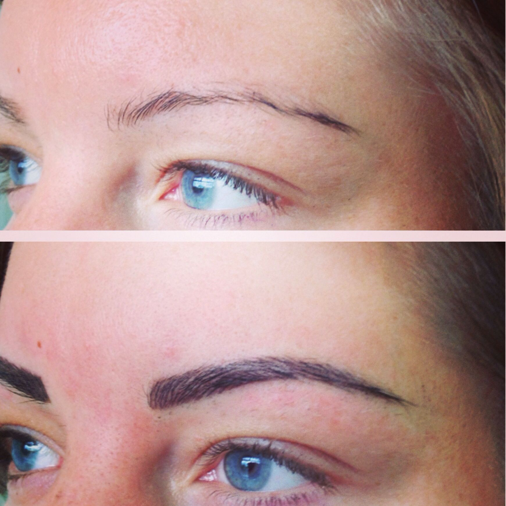 Hair stroke tattoo by erla permanent makeup