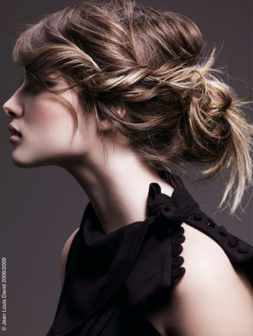 Pulled back messy bun
