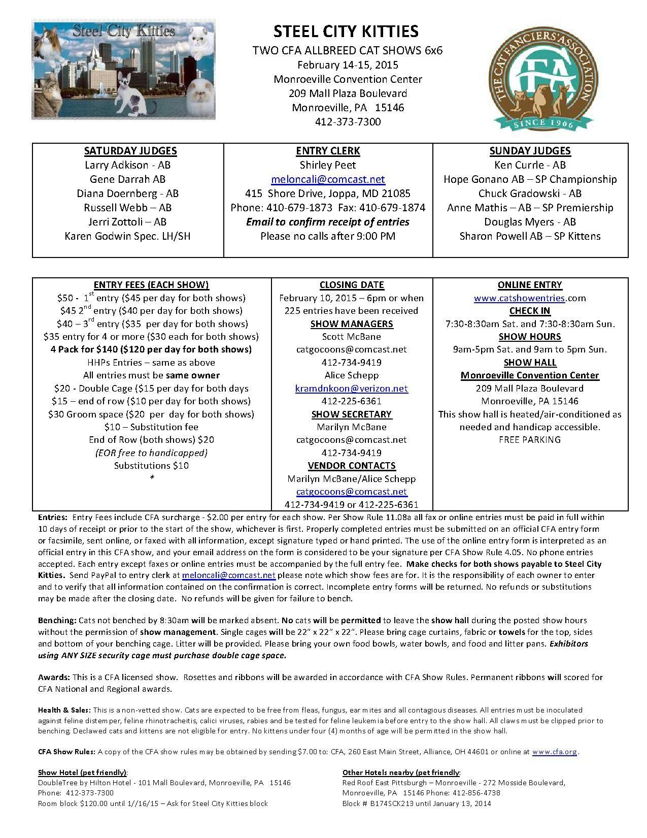 Steel City Kitties February 14 15 2015 Monroeville Pa Great Lakes Region Steel City Great Lakes