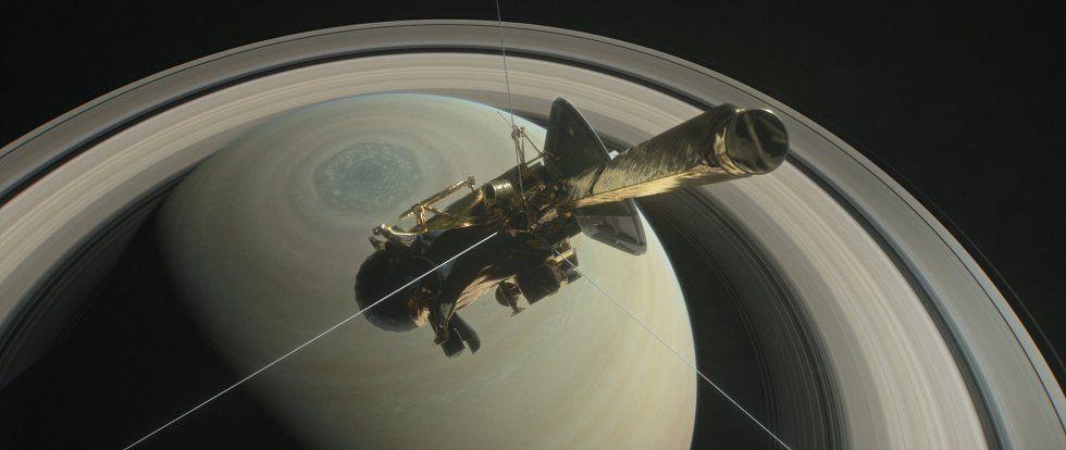 Ilustración que muestra la nave Cassini que se dispone a adentrarse en la órbita del planeta Saturno y sus anillos interiores como parte final de su misión espacial, que se pretende ocurra el próximo 27 de abril, cuando pueda surcar los cerca de 2,700 kilómetros de espacio. La nave una vez complete esta fase ingresará en Saturno para recolectar datos de su interior a partir del mes de septiembre.