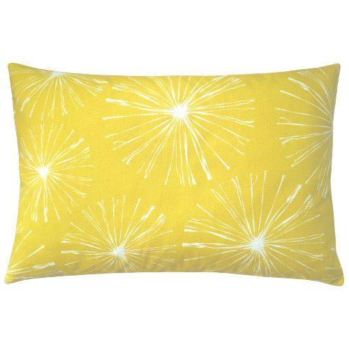 Kissen Sparks Mit Grossen Feuerwerksblumen In Zitronengelb Und Weiss