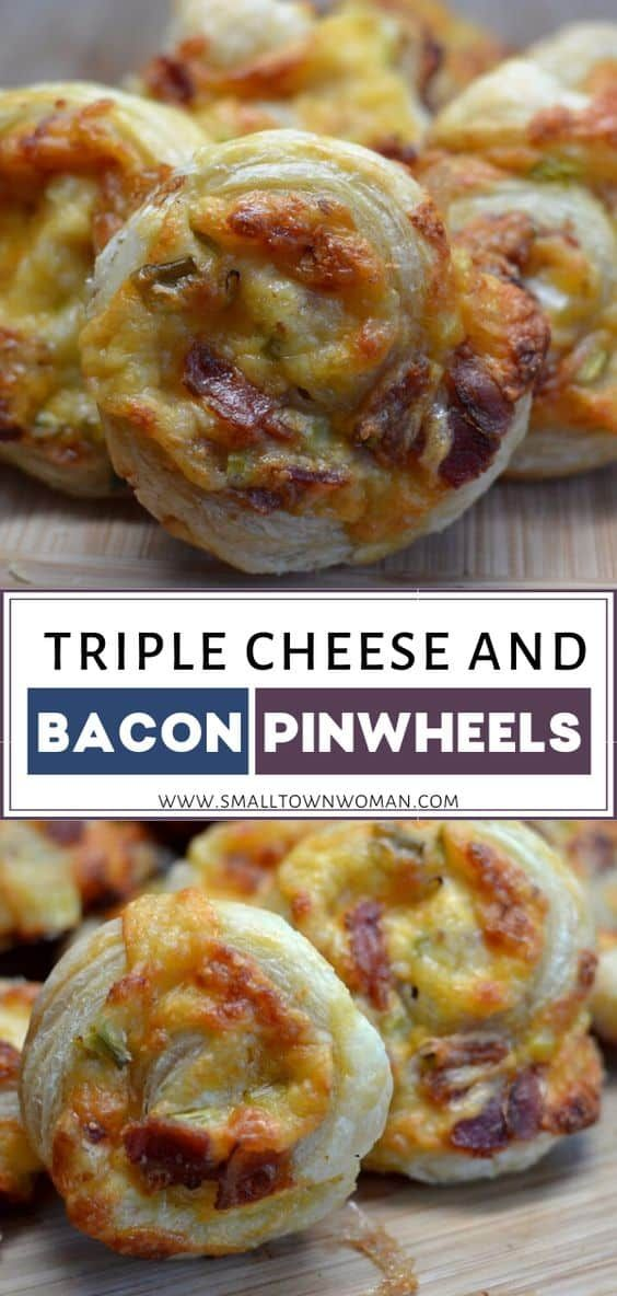 Triple Cheese & Bacon Pinwheels | Small Town Woman