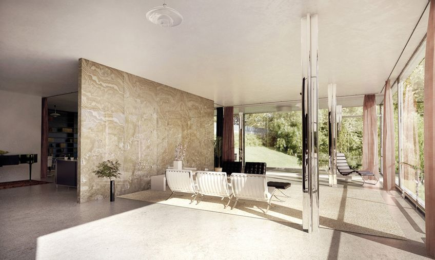 Tugendhat House Interior By Lasse Rode Xoio Lasse Rode S Continues To Share More Insight Re 3d Architectural Visualization Mies Van Der Rohe Van Der Rohe