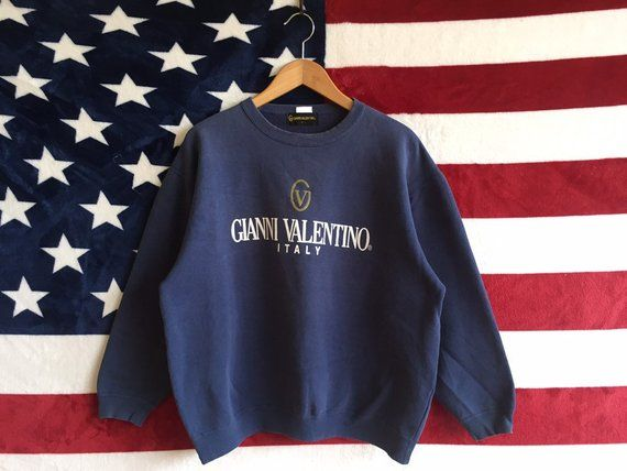 252c7b452c21 Vintage 90s Gianni Valentino Italy Sweatshirt Blue Navy Faded Colour Gianni  Valentino Crewneck Spell