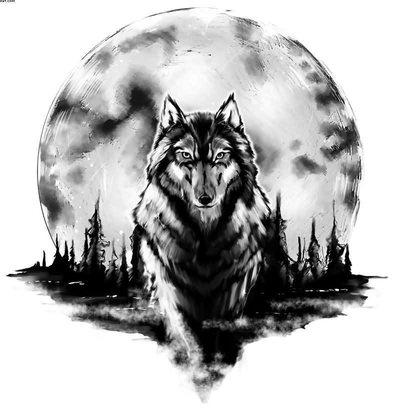 Cool Black And White Wolf With Massive Moon Tattoo Tattoos Photos Y Tưởng Hinh Xăm Hinh Xăm Soi Hinh Xăm động Vật