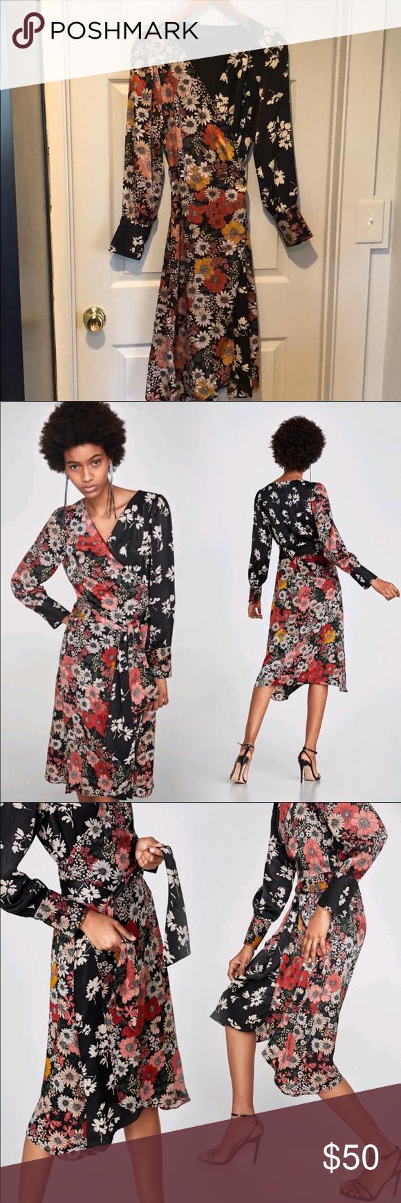 Zara Basic Collection Floral Wrap Midi Dress Zara Basic Dresses Floral Wraps