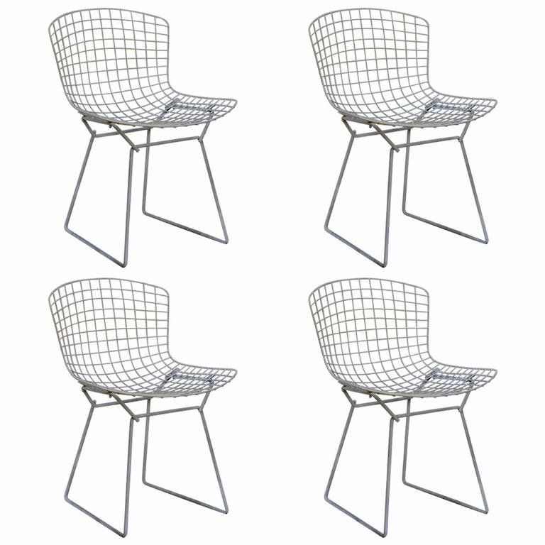 set of four original wire chairs by harry bertoia for knoll   wire