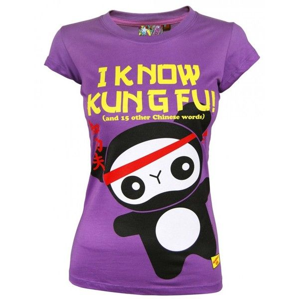 Newbreed Girl Ladies Kung Fu Panda T Shirt, Purple ❤ liked on Polyvore