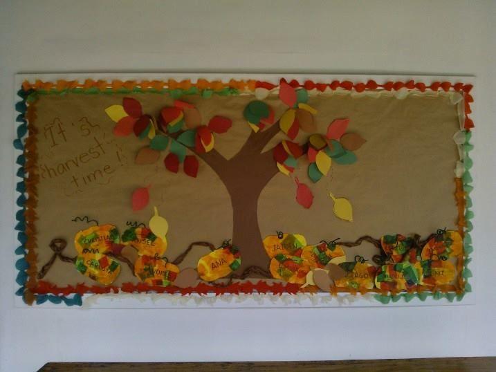Llega el otoño. Tiempo de cosecha,los niños hicieron calabazas para decorar. PK-B 2014