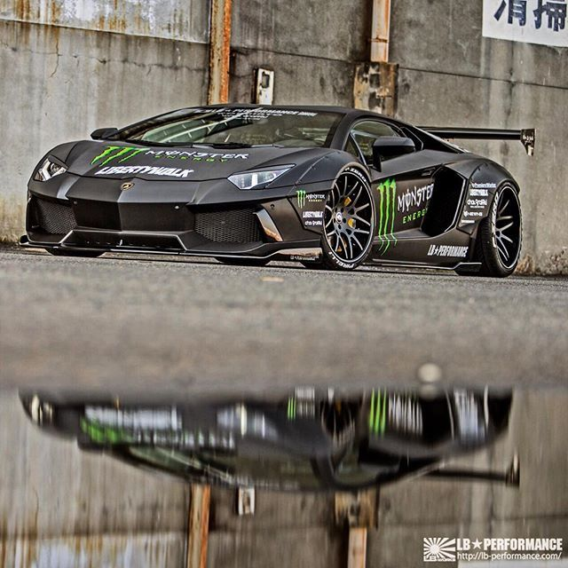 Great LB Performance☆Kawamura: LB☆WORKS AVENTADOR U0026 MONSTER ENERGY #lbworks  #lbperformance #libertywalk #lamborghini #aventador .