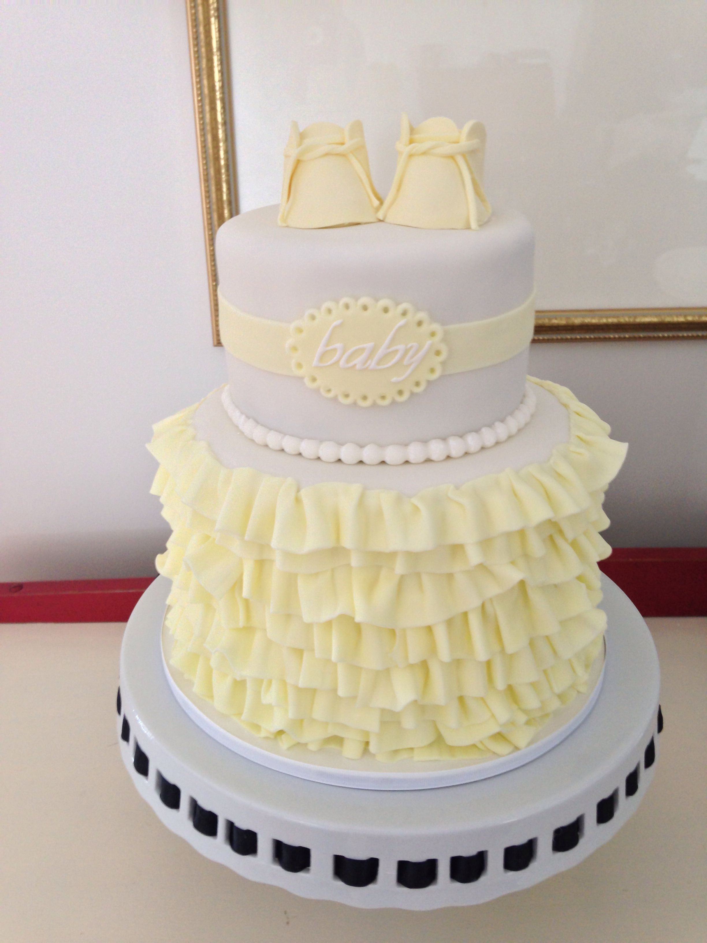 Pale Yellow And White Ruffled Baby Shower Cake, By Amy