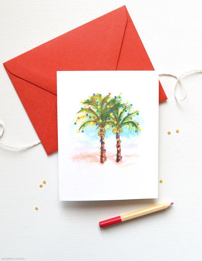Palm Trees Christmas Card Set   sue palmer   Pinterest   Christmas ...
