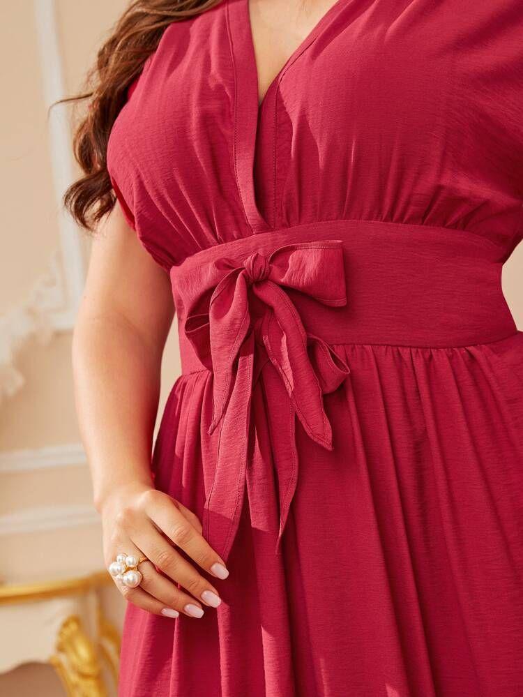 فساتين مقاسات كبيرة عقدة الفراشة الصاف الأحمر أنيقة شي إن Dresses Flare Dress Fashion