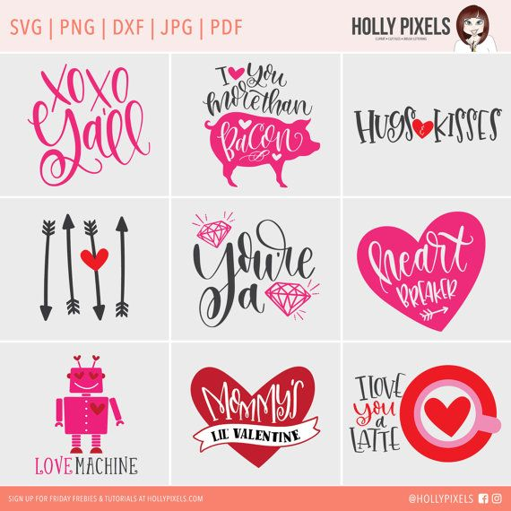 Valentines Day Svg Files Bundle For Home Decor Or By Hollypixels