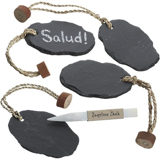 Set of 4 Slate Bottle Tags in Entertaining under $20   Crate and Barrel