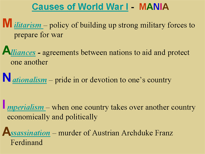 These are the four main causes for the start of WW1. The ...