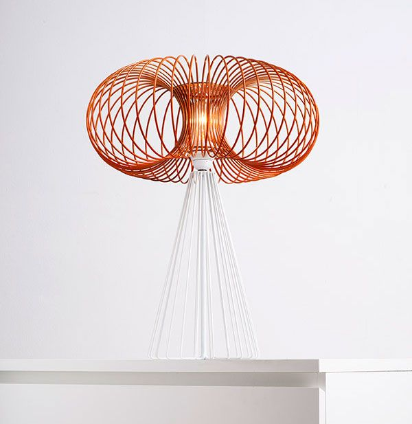 Torus light table lamp made from cnc formed powder coated wire ...