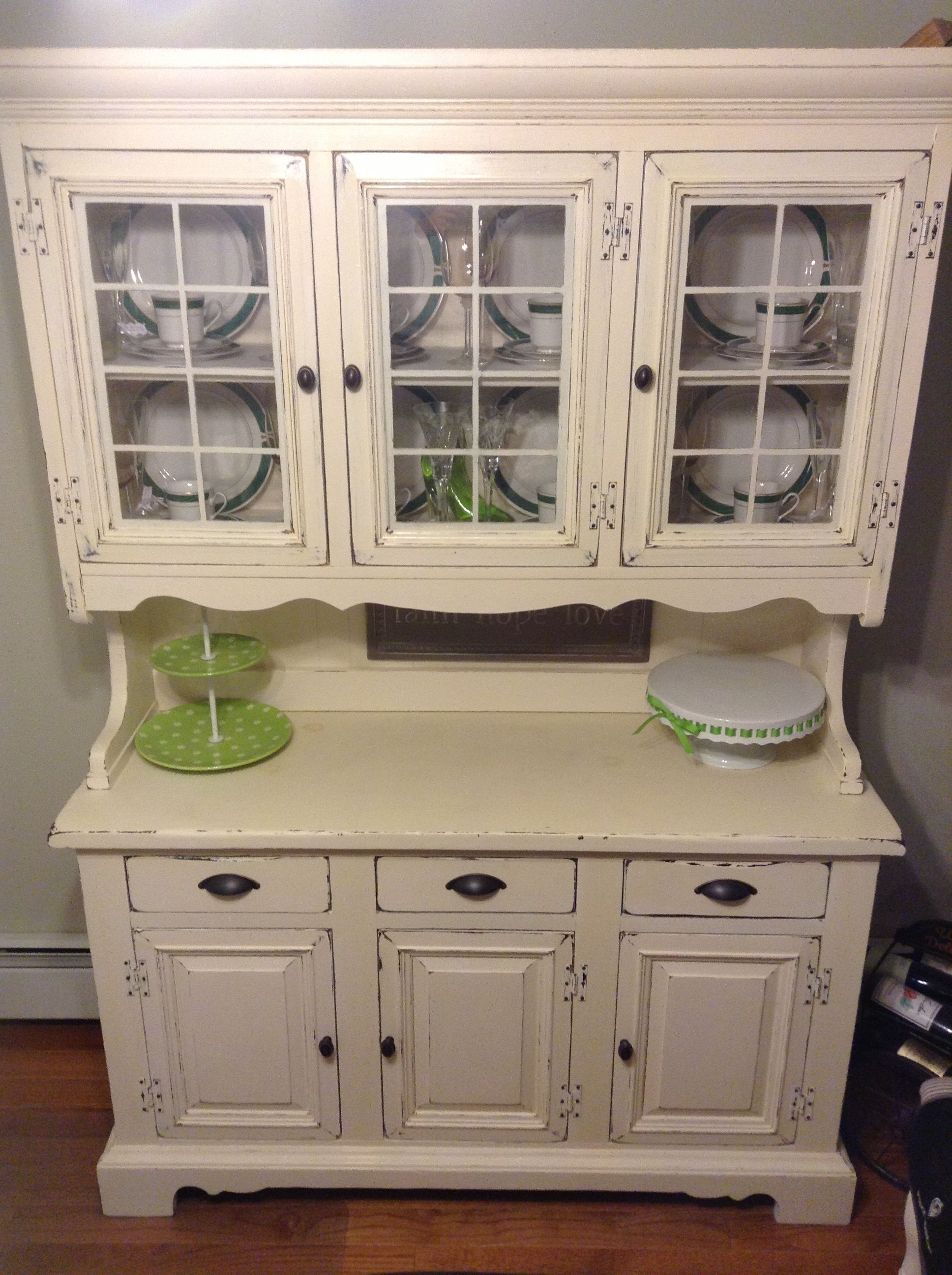 Ethan Allen Hutch Refinished In Antique White And Distressed Door S All Updated To Bronze