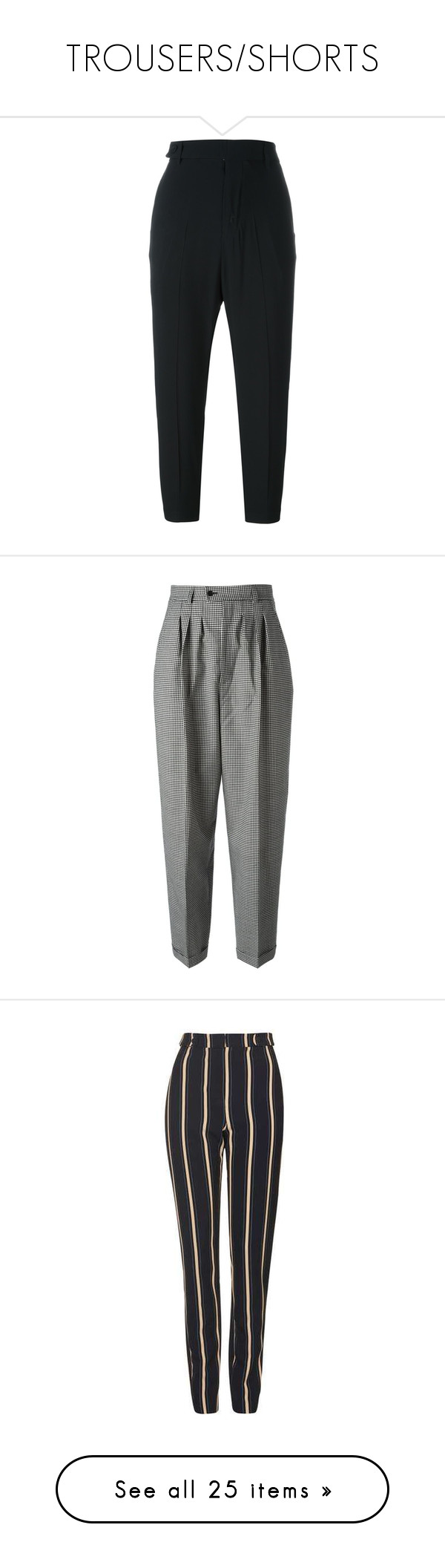 """""""TROUSERS/SHORTS"""" by millieparkerrr ❤ liked on Polyvore featuring pants, capris, black, peg leg pants, high waisted cropped pants, rick owens, high rise trousers, cropped pants, trousers and bottoms"""