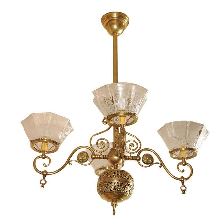 Four arm victorian gas chandelier aesthetic style pendant four arm victorian gas chandelier aesthetic style mozeypictures Choice Image
