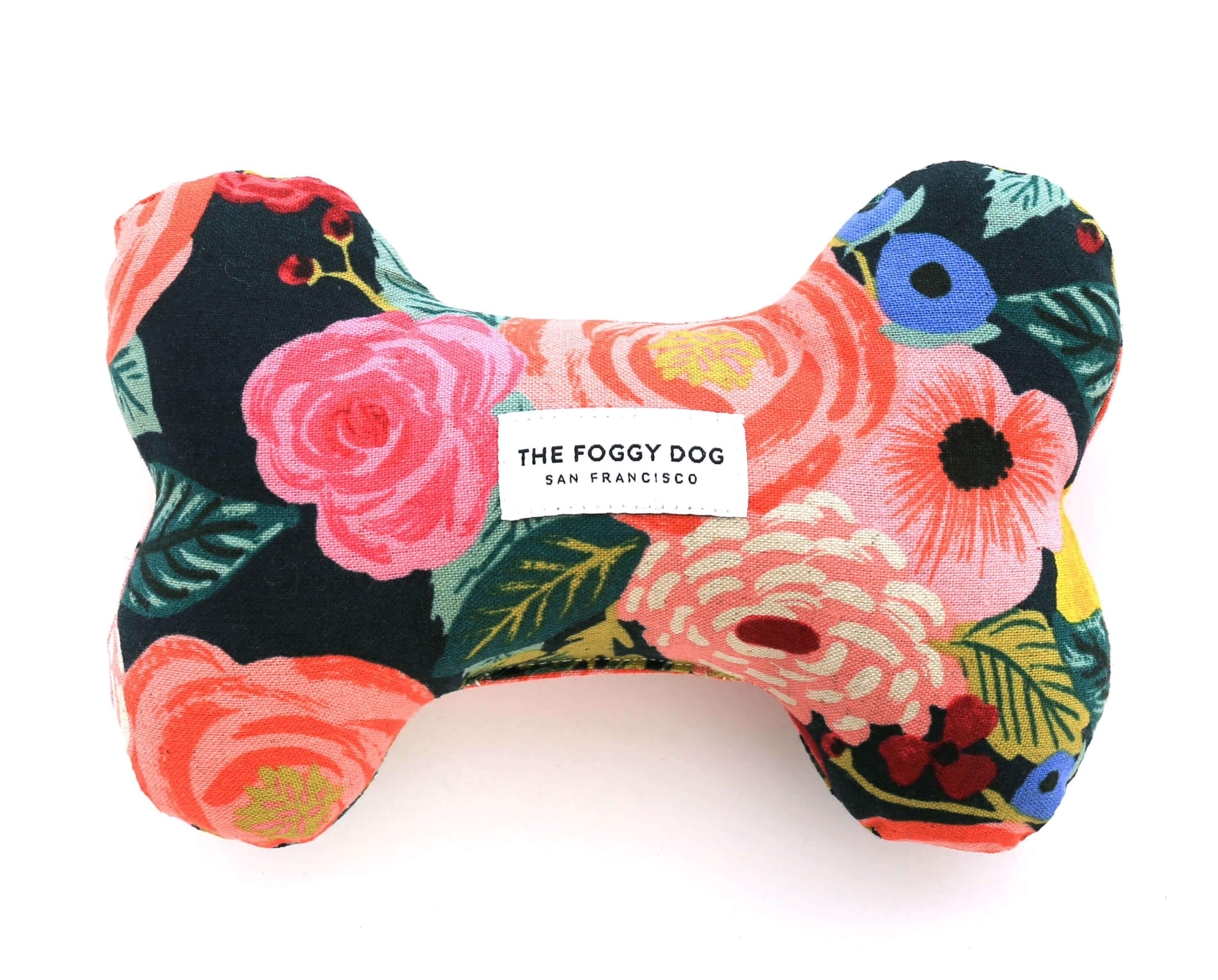 Painted Peonies Midnight Dog Bone Squeaky Toy Eliminating Love