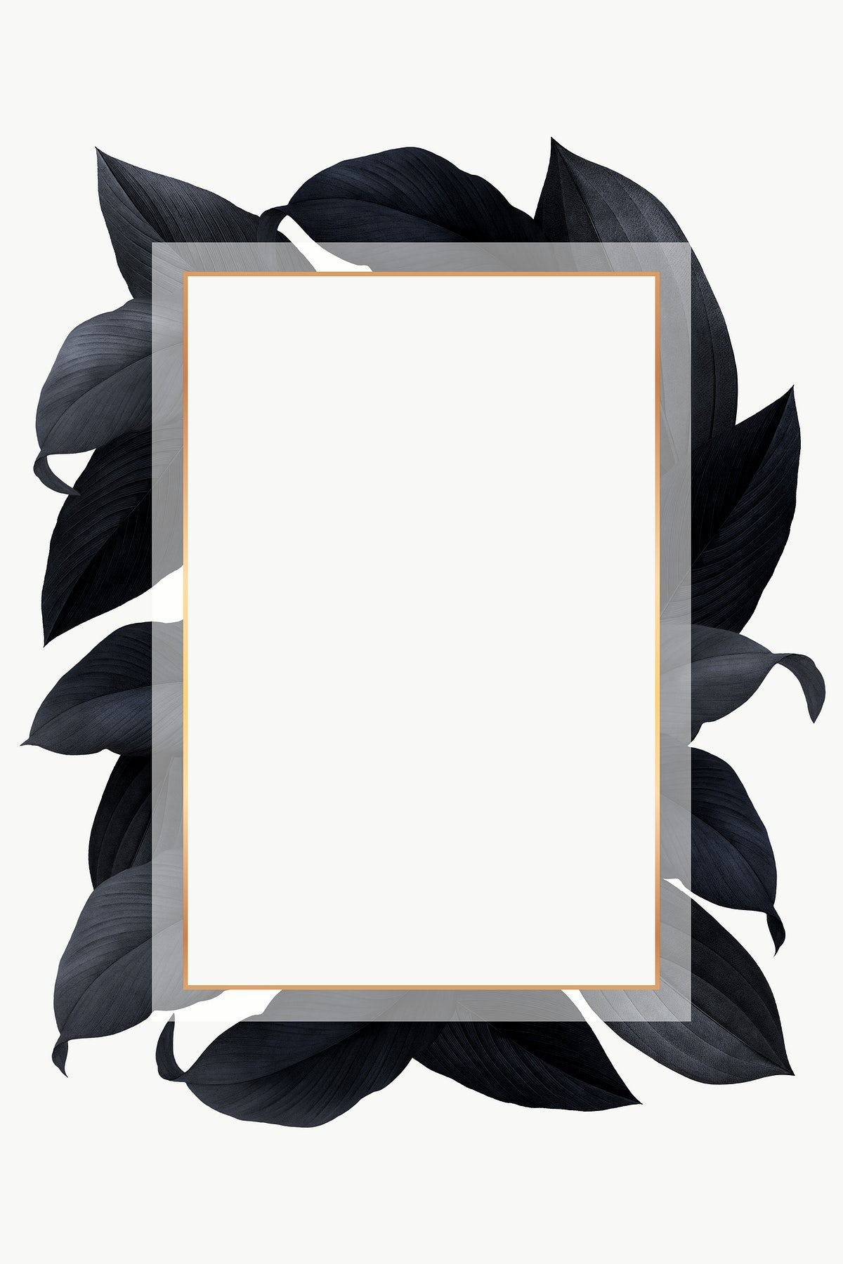 Download Premium Png Of Black Leaves With Golden Rectangle Frame Design Black Leaves Frame Design Sale Poster