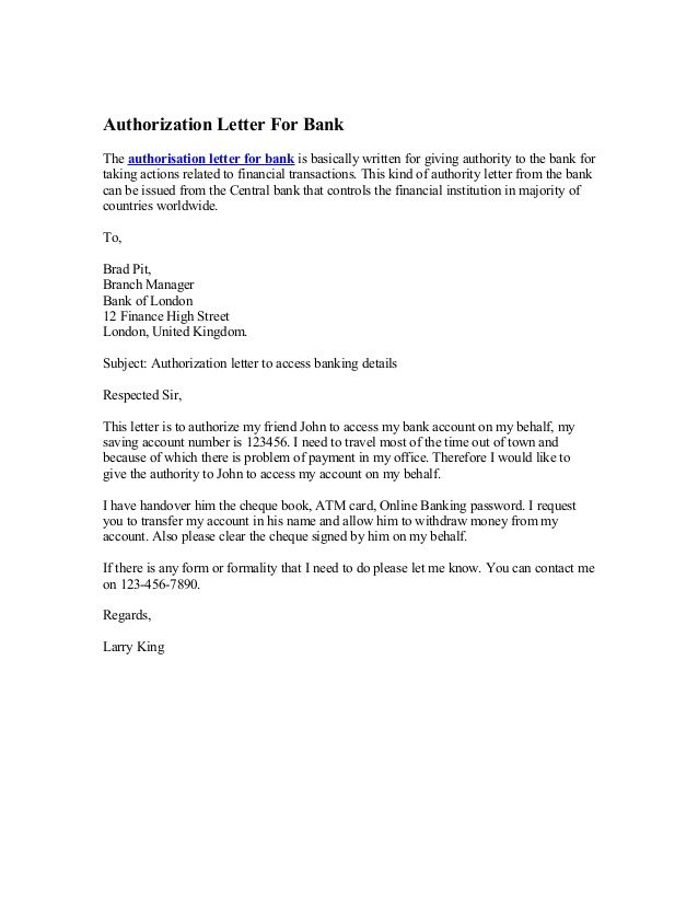 Authority Form Template Authorization Letter For Bank  News To Go 3  Pinterest  Banks .