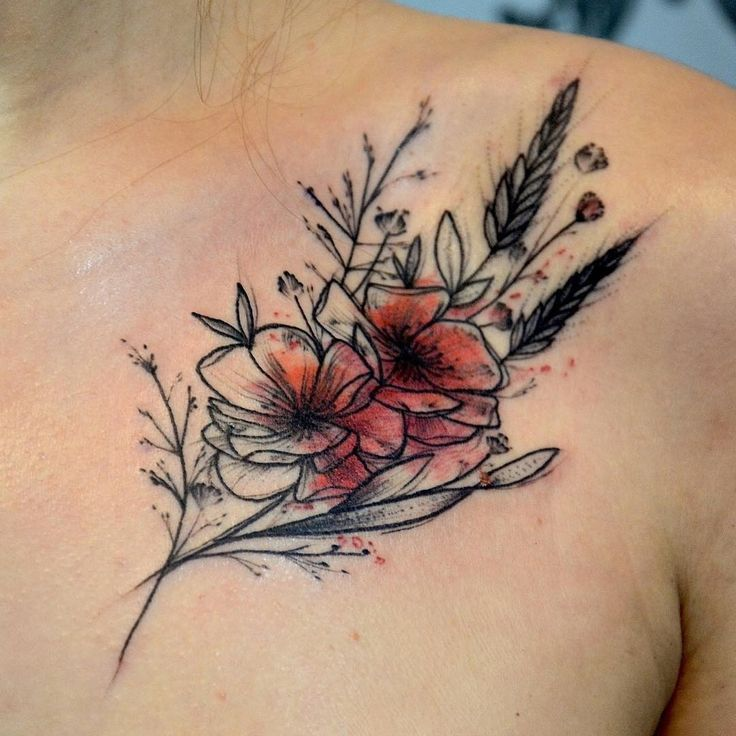 Watercolor Flower Tattoo On Front Shoulder Mit Bildern Schone