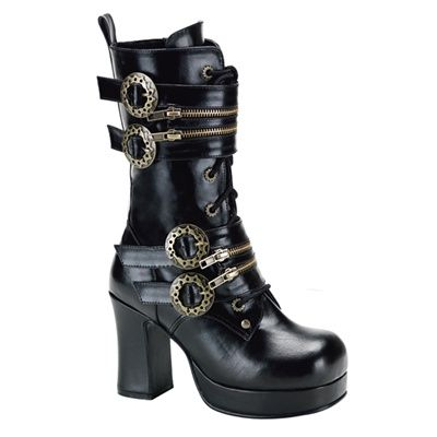 Demonia Gothika-200 - Gothic Steampunk Plateau Stiefel Schuhe 36-43, Größe:EU-40/41/US-10/UK-7