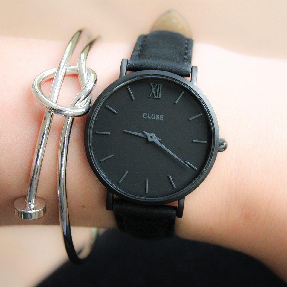 montre cluse minuit full black cl30008 black bracelets. Black Bedroom Furniture Sets. Home Design Ideas