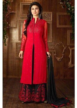 couleur rouge georgette Anarkali costume, - 83,00 €, #Anarkali2016 #RobePakistanaise #TenueBollywood #Shopkund