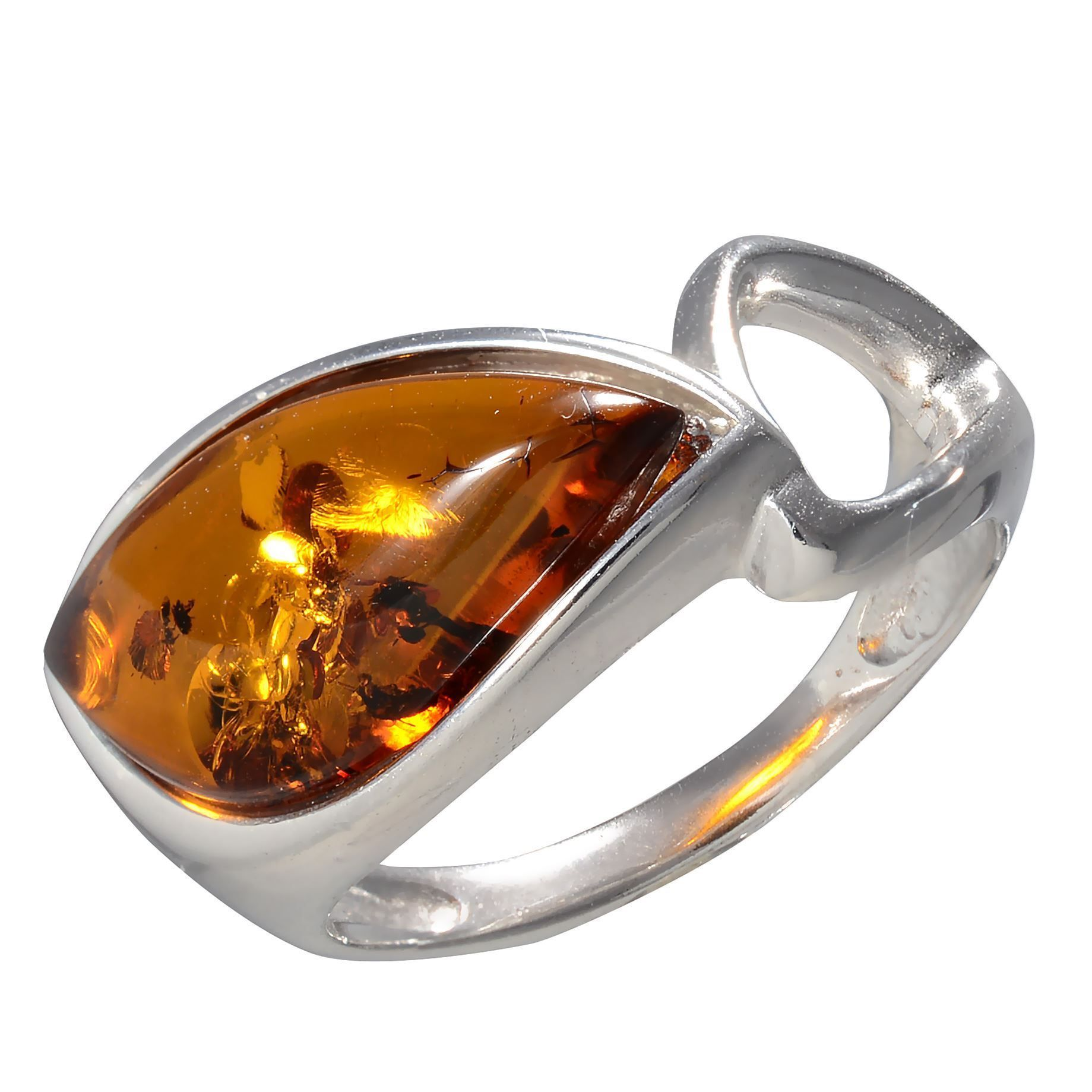 HolidayGiftShops Sterling Silver and Baltic Honey Amber Ring Sunniva