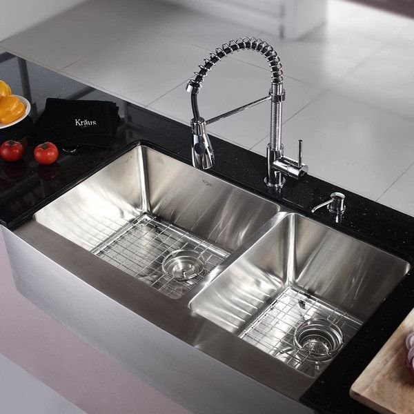 kraus 36 inch farmhouse double bowl stainless steel kitchen sink with noisedefend soundproofing kraus 36 inch farmhouse double bowl stainless steel kitchen sink      rh   pinterest com