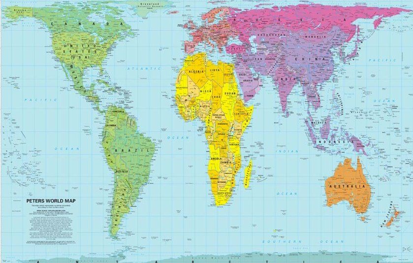 accurately sized map of the world peters-mapjpg 839×535 pixels - best of world map poster time zones