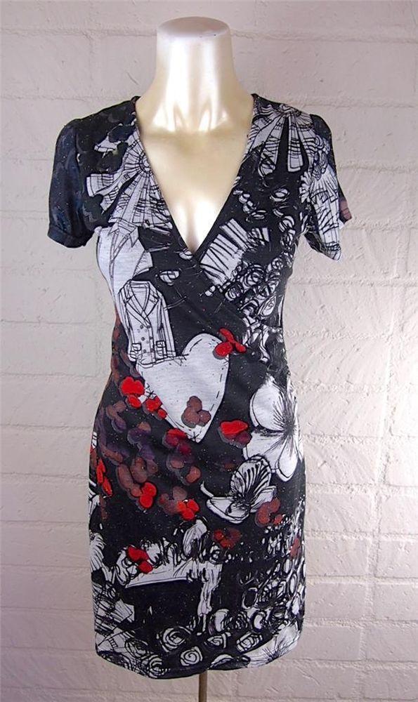 DESIGUAL Black/White Graffiti Fashion Print Wrap Effect Sheath Dress S 4 6 #Desigual #wrapeffectsheath #WeartoWork