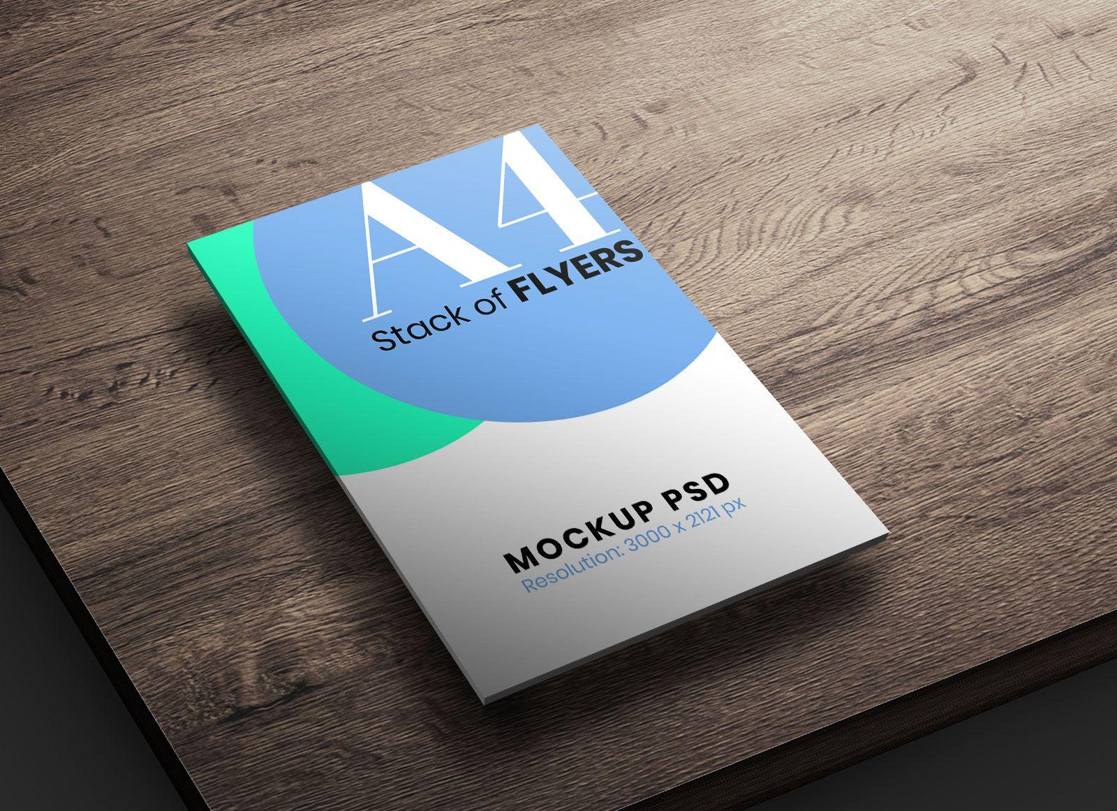 Free A4 Size Stack of Flyers Mockup PSD Flyer mockup