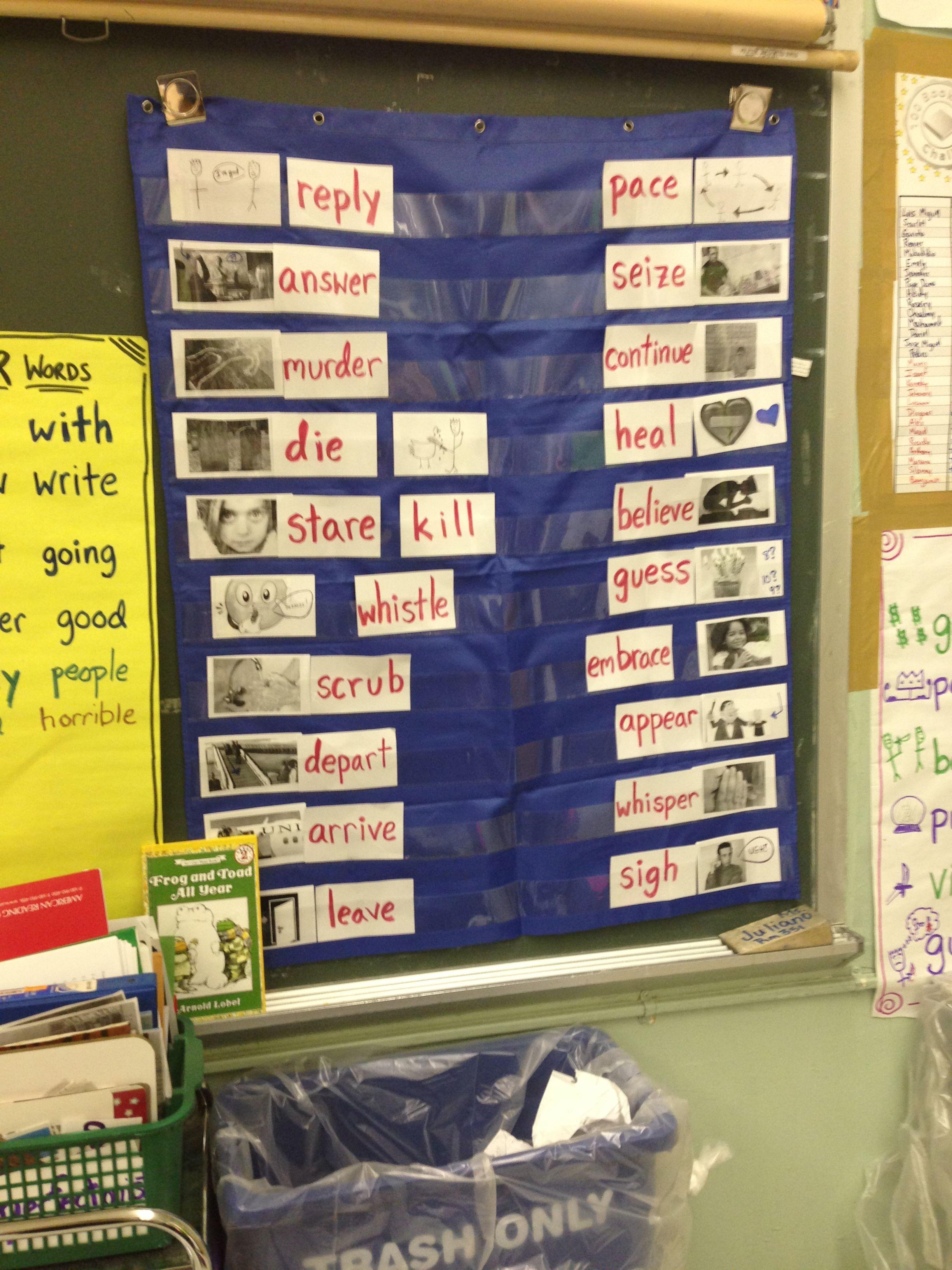 Verb vocabulary cards