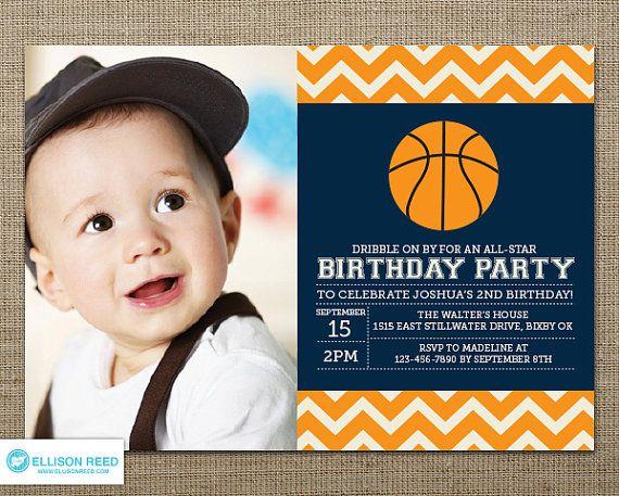 Printable Birthday Invitations For Boy ~ Basketball invitation first birthday invitation sports