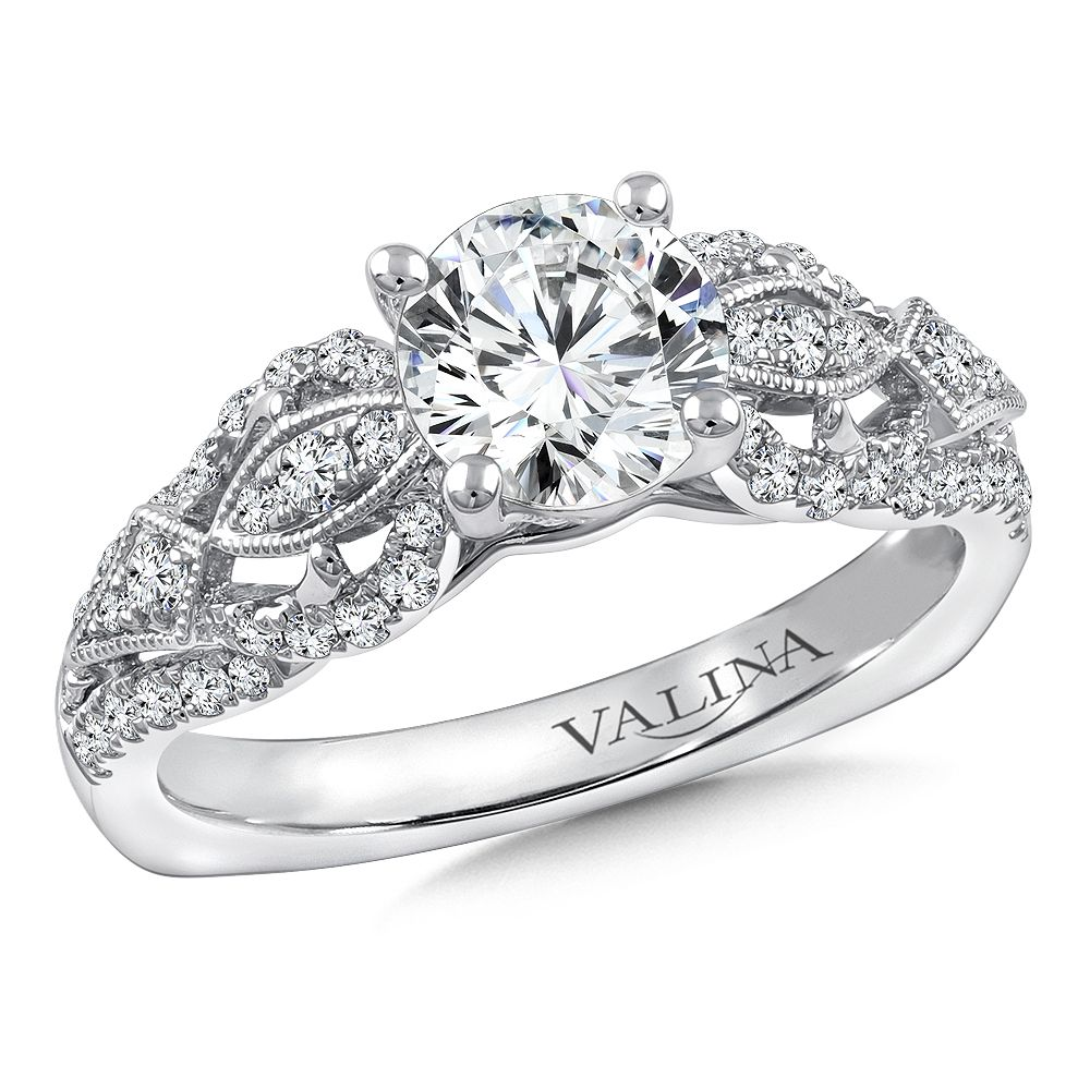 Valina - Diamond Engagement Ring Mounting in 14K White Gold (.40 ct. tw.) #R9753W